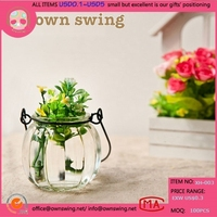 Glass Vase with Hanger/Colored Glass Hanging Flower Wall Vases/Glass Hanging Pendant Vase