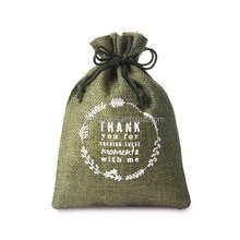 Christmas santa bag Color Custom logo print small jute soap pouch Candle drawstring bags