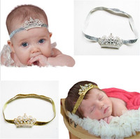 Wholesale Colorful Glitter Band With Rhinestone Metal Crown Stretch Headbands For Baby Girls