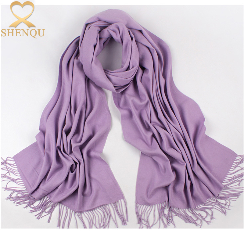 2017 Fashion ladies autumn winter plain colors pashmina scarf shawl wraps tassel viscose scarves and shawls