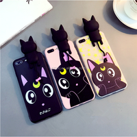Lying down Luna cat 3D mobile phone shell, cute cartoon cover, silicone protective cover for iPhone 6 6p 7 7p