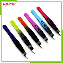 cheap colorful engraved slant stainless steel nail art tweezers straight eyebrow tweezers