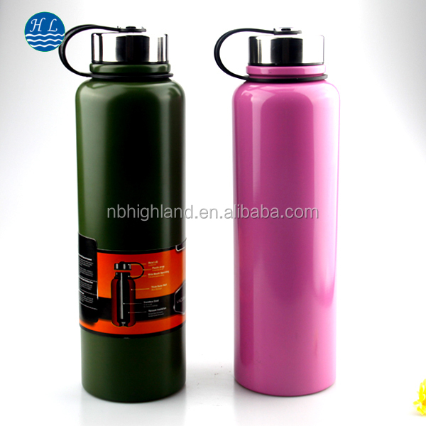 big volume 1500ML spray painting double wall wide mouth stainless steel water bottle with grip