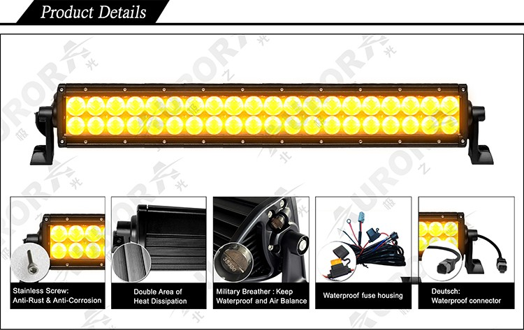 AURORA High Quality 50inch led off road light bar Amber Color