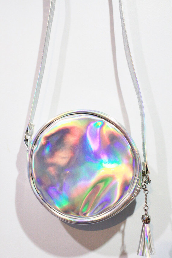 High quality holographic silver round Pouch Bag