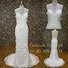 Ribbon sash lace veil beautiful tail sexy picture wedding dress bridal gown