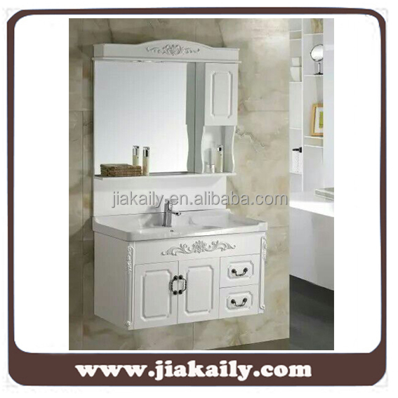 JKL-7021 modern furniture design PVC wall hung bathroom cabinet vanities with counter basin and mirror