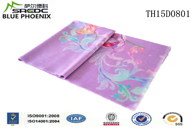BLUE PHOENIX 100% wool flower printed ladies custom hijab scarves