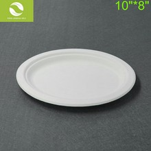 10 Inch Sugarcane Bagasse Eco-friendly Oval Dinner Plates