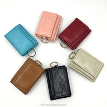 2017 Candy Color Mini Foldable Flap Closure PU Coin Purse Rfid Card Wallet with Key chain