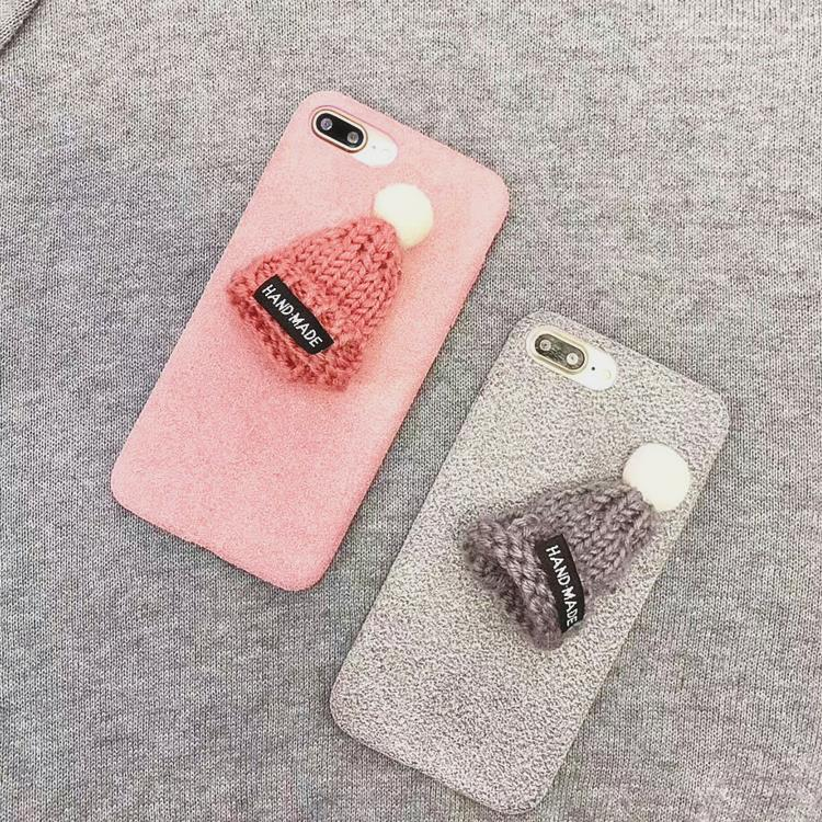 Korea fur ball 3D plush handmade wool hat soft tpu phone case for iphone x 8/8plus 7/7plus 6/6plus simple couple case