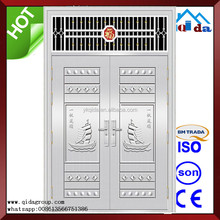 QD-SS100 Entrance Anti- theft Villa Main Stainless Steel Frame Glass Door