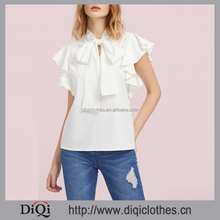 2017 new designs wholesale price stylish work ladies White High Neck Bow Tie Front Flutter Sleeve Blouse