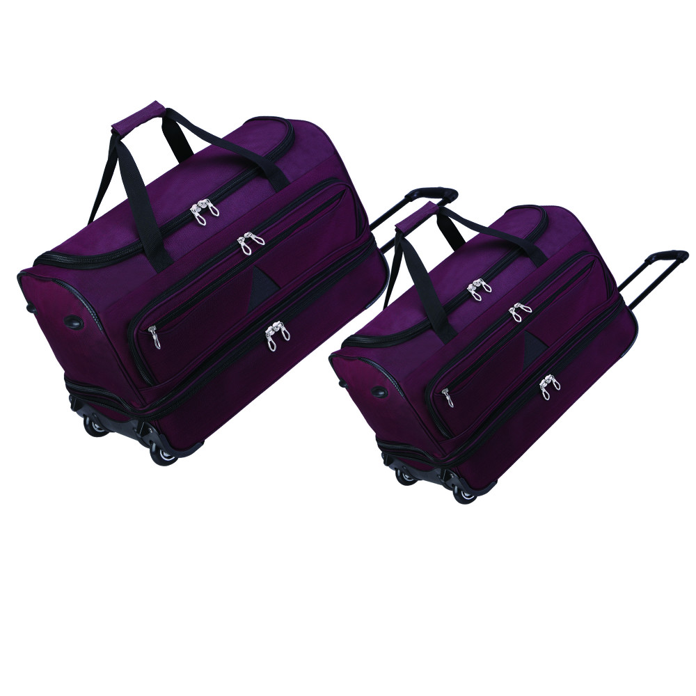 Ultra large capacity extra double zipper expandable travel bag, wheeled rolling duffel spinner luggage gym travel bag on wheels