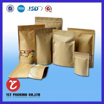 With window doypack kraft paper packaging bag