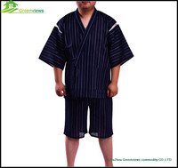 Newest men pajamas with cotton flax pyjamas set men cotton clothing dark blue japanese style clothes for men GVXF0005