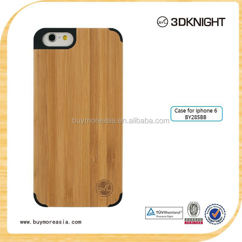 2015 hot sale phone case , new trend stlye natural bamboo Phone Case For Apple Iphone 6 plus