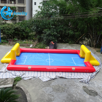 0.6mm PVC tarpaulin Inflatable football field for kids / portable soap football field