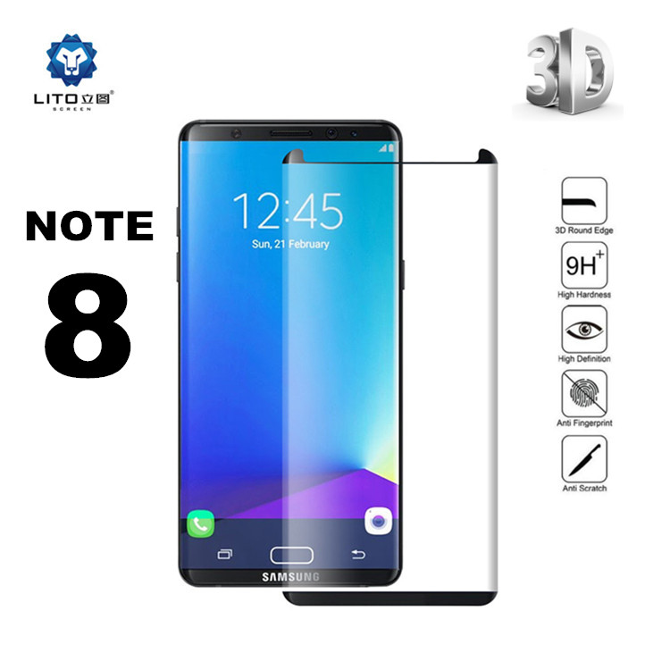 Case Friendly note 8 full cover 3d curved tempered glass screen protector for samsung galaxy note 8, note 8 tempered glass
