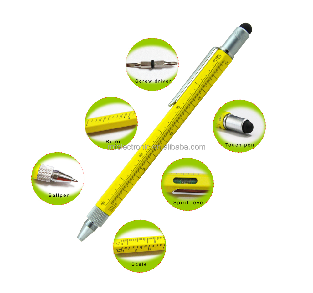 Copper 5 in 1 gradienter pen,Construction Tool Pen,tech tool ballpoint pen with gradienter,ruler,screw driver tech tool pen
