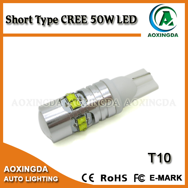 Auto short type CREE 50W LED bulb T10 194 168 W5W