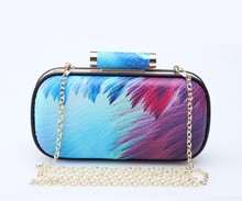2017 Fancy Colorful Pu Flower printed pu evening bag for evening party