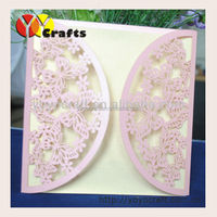 Unique Paper Craft Blank Folding Butterfly Wedding Invitation Card Lace