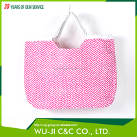 Natural recycled fashion custom polyester foldable polyester beach bag