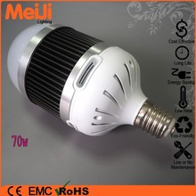 Beautiful design high heat conductivity low luminous decay high power led bulb e27 70w with CE ROHS approved