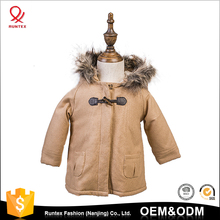 2-14 years Winter Children Clothing Soft unisex Kids' wool blend Toggle button fur hood Quilted jacket coat