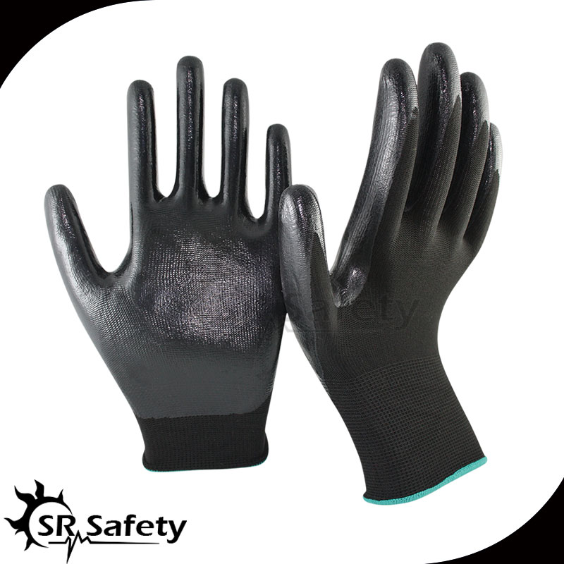 SRSAFETY oil and gas glove/Smooth nitrile safety glove/Nitrile coated hand work gloves