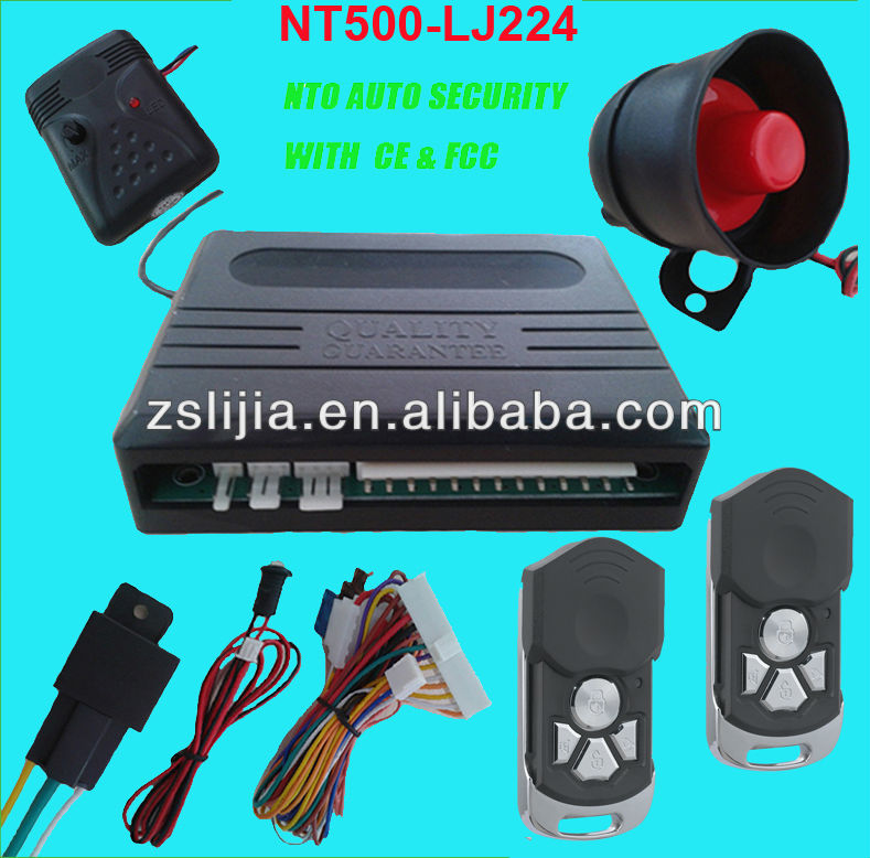 remote control 1-way car alarm with engine cut off relay shock sensor led light siren control box