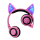 OEM custom cute wireless cat ear 3.5mm headphone
