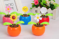 solar power flower pot solar energy flower solar powered swing flip flap dancing flowers, car decorative gift sun doll