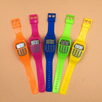 LED Calculator Silicone Watch Electronic Digital Chronograph Kids Children Boys Girls Sport Rubber Wrist Watches