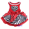 Valentine's Day Red Zebra Tutu Heart Party Dress Cat Pet Small Dog Clothes