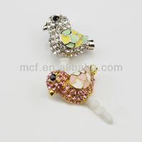 Funny decorated wholesale birds mobile earphone cell phone cute anti dust plug MCD-0082
