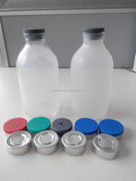 ISO 32mm 50ml,100ml,250ml and 500ml Clear Mould Injection Glass Bottle with Caps for Antibiotics