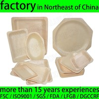 Round Disposable Wood Food Serving Tray