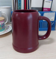 Creative brown green blue matte ceramic beer mug with logo and handle