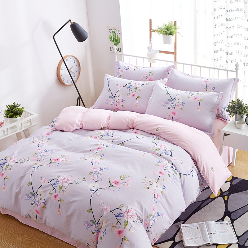beautiful pink flowers Print cotton 4pcs Bedding set Bed sheet,Duvet cover,Pillow case