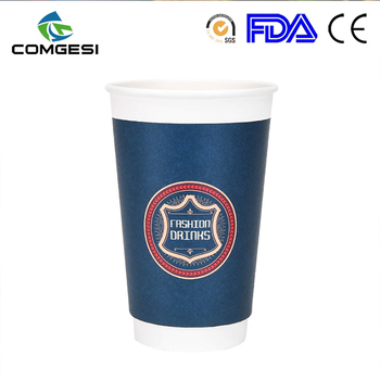 beverage food use floex offset beautiful elegant colorful paper drinking cup with handle wholesaler in anqing china