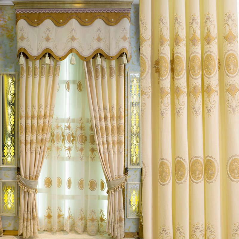 High-end European custom embroidered curtain series luxury set auger French window curtain gold exports