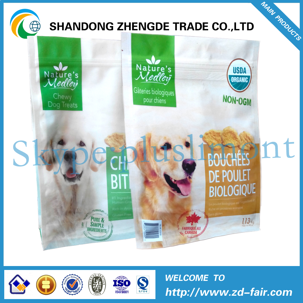 Fancy Plastic Flat Bottom Pet Food Packaging Bag With Zipper