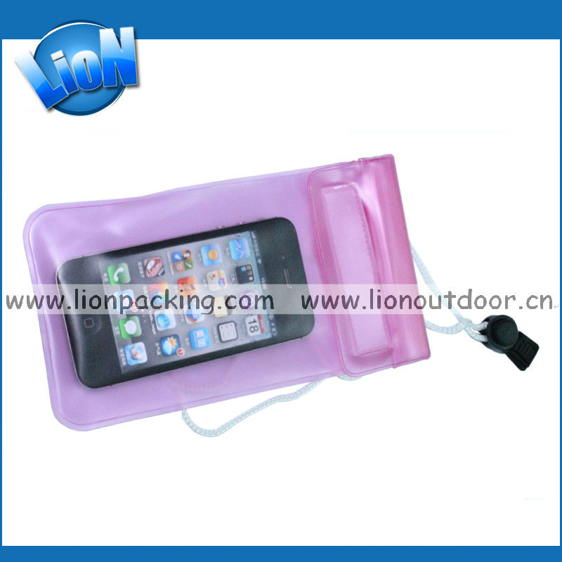 pink waterproof smart phone pouch