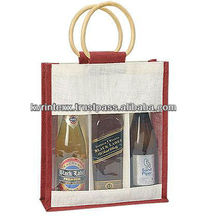 Fashion cheap promotional natural jute wine bag