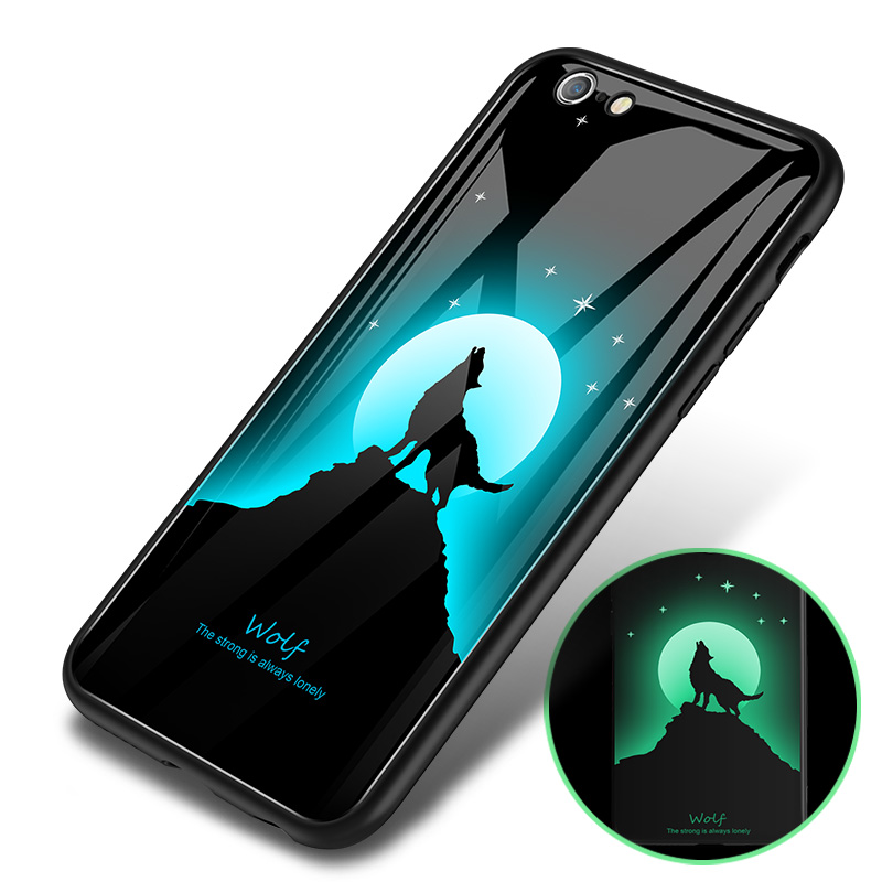for iphone X case XR XS <strong>MAX</strong> 7 8 6 6S plus 2018 luxury luminous Tempered Glass Back Cover shock proof tpu frame phone case