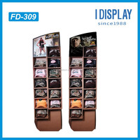 High-end Pocket Design Corrugated Cardboard Floor Display Shelf Rack For Hat