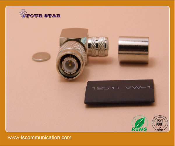 brass clamp lmr400 tnc connector, tnc male right angle