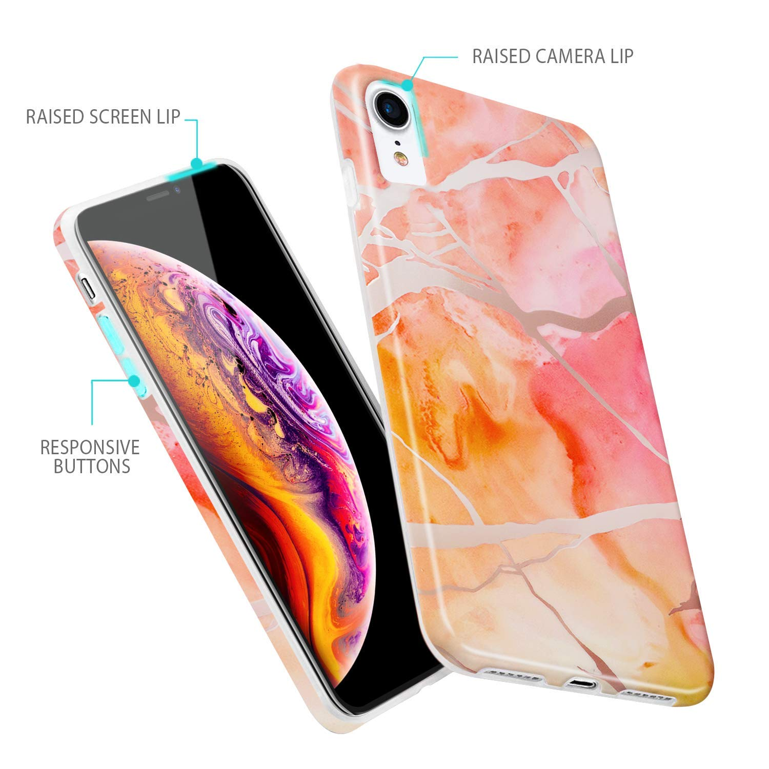 2018 Marble Case, Slim Soft Rubber with Marble Pattern, Glossy Silicone Cover for iPhone Xs Max